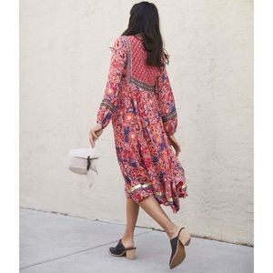 NWT Anthropologie Boho Trimmed peasant Midi dress